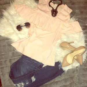 Soft pink off the shoulder ruffled top